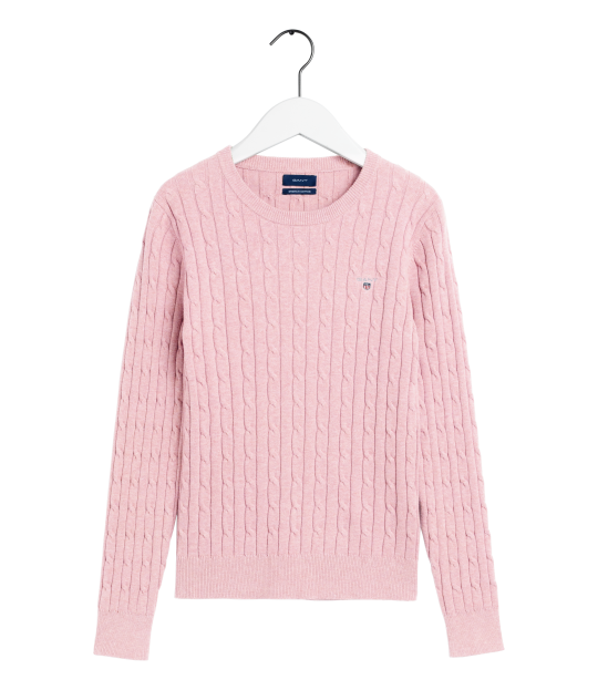 Stretch Cotton Cable Crew Pink